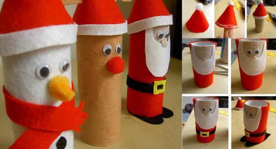 decoracion-navidena-con-materiales-reciclados-adornos-colgantes-papa-noel-carton-y-papel-higienico