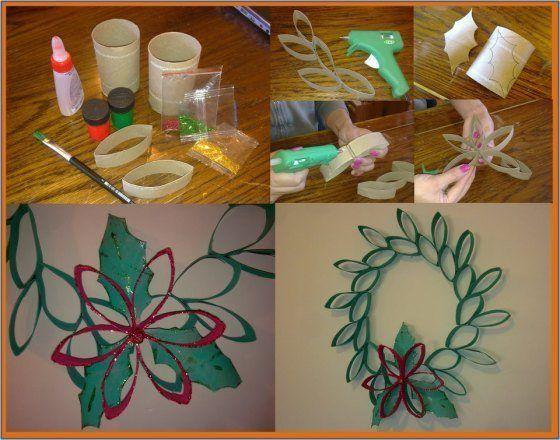 decoracion-navidena-con-materiales-reciclados-adornos-coronas-navidad-papel-higienico