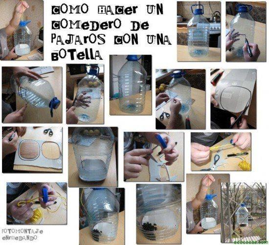 31 ideas para reciclar botellas de pl stico - Comedero de pajaros ...
