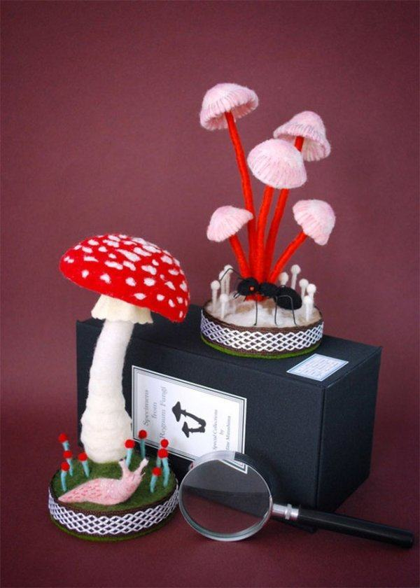 manualidades-con-fieltro-adorables-esculturas-setas-con-caracol