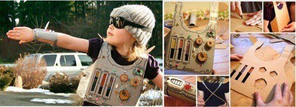 Disfraz-de-superhéroe-hecho-con-cartón-y-botones
