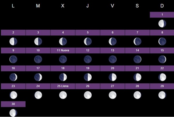 El calendario lunar 2016 para huerto y el jard n for Calendario lunar noviembre 2016