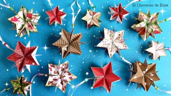 decoracion-navidena-colgantes-adornos-reciclados-carton-papel-higienico-estrellas