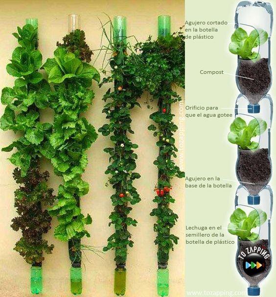 Ideas para reciclar botellas de plástico huerto vertical