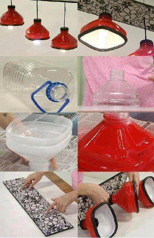 Ideas para reciclar botellas de plástico lámpara techo