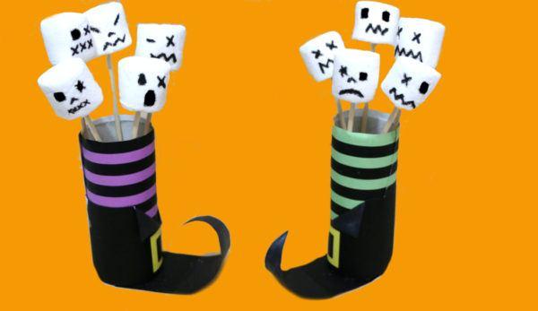 Manualidades de Halloween con rollos de papel higiénico brujas y marshmallows