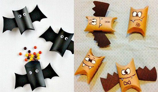 Manualidades de Halloween con rollos de papel higiénico murciélagos