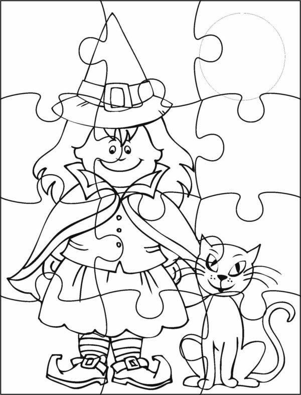 Manualidades fáciles de Halloween para niños imprimir puzzle bruja