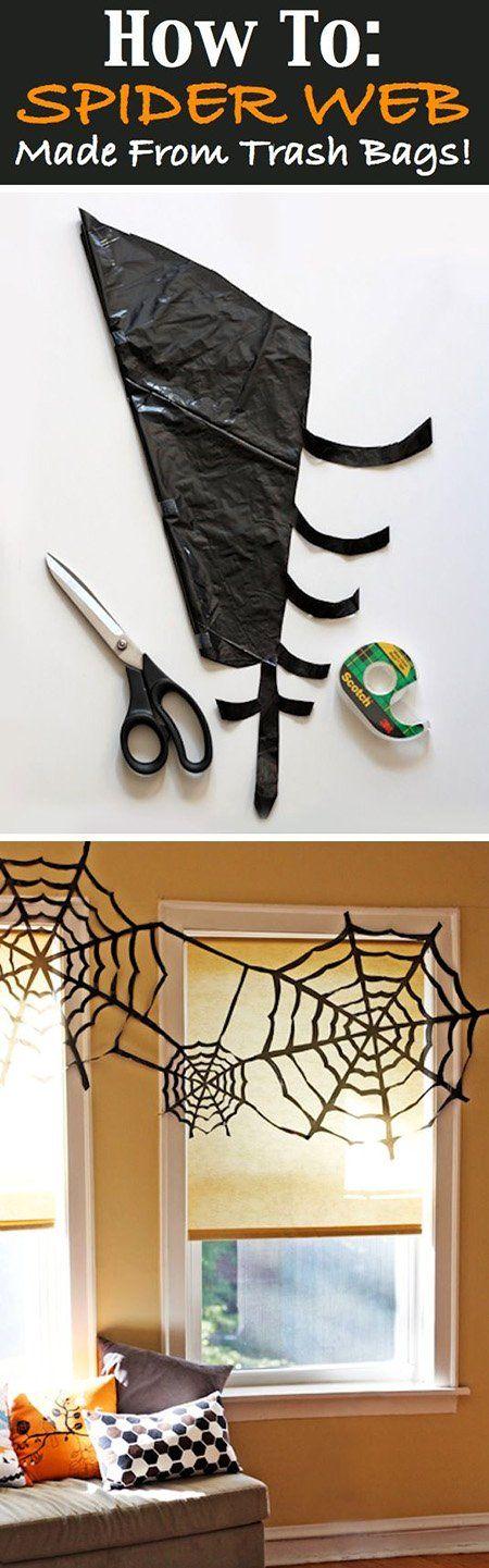 Manualidades fáciles de Halloween para niños telaraña negra