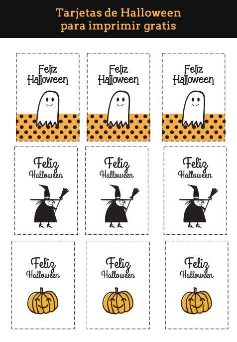 Manualidades fáciles de Halloween para niños tarjetas para imprimir