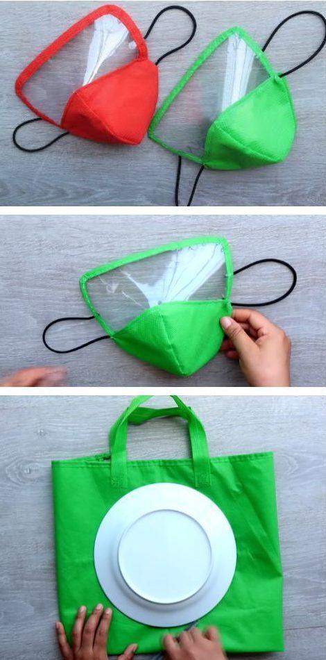 Disfraz material reciclado para Carnaval 2021 mascarilla visible