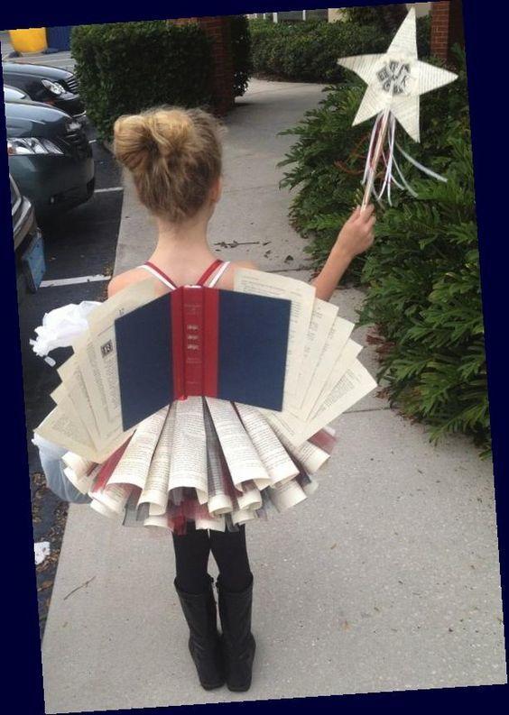 Disfraz material reciclado para Carnaval 2021 hada libros