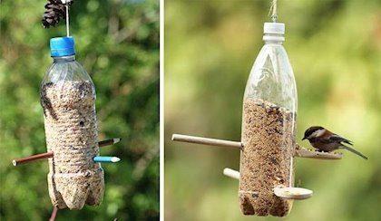 Ideas para reciclar botellas de plástico comedero