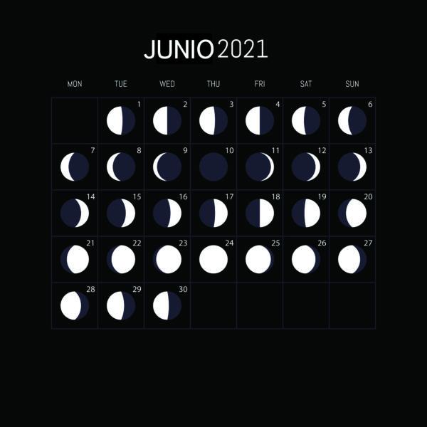 Calendario Lunar Junio 2021