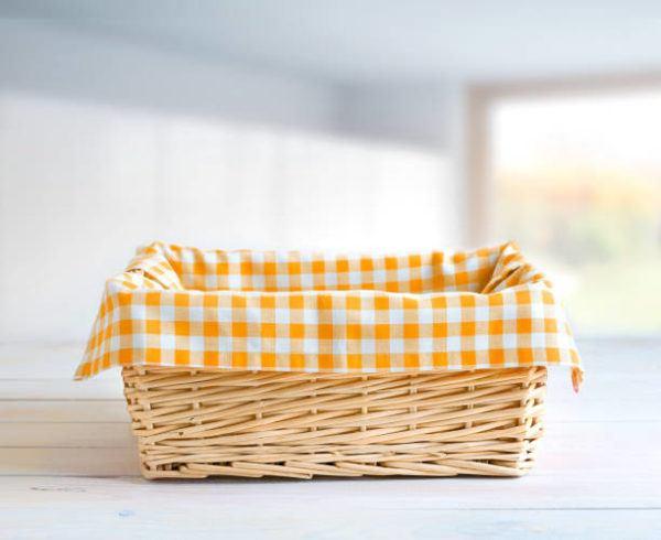 Decorar cestas mimbre telas