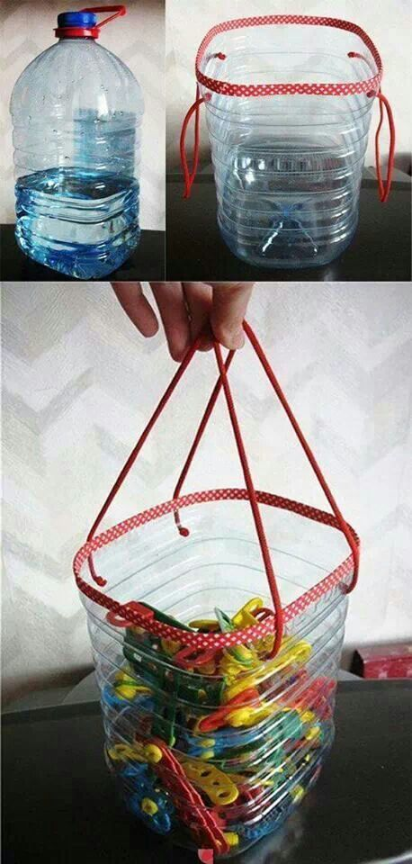 Ideas para reciclar botellas de plástico cesta