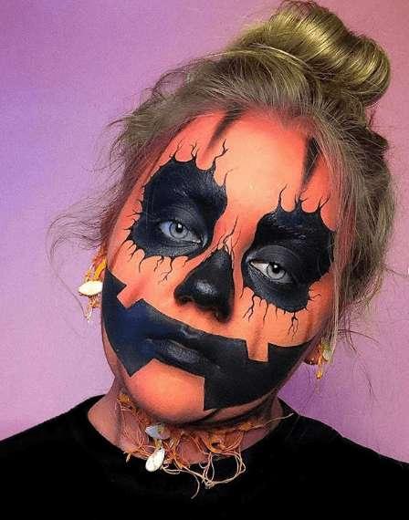 Manualidades fáciles de Halloween para niños maquillaje calabaza