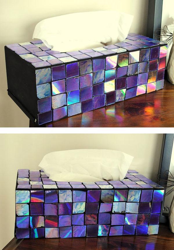 Manualidades con CD reciclados paso a paso caja de pañuelos mosaico