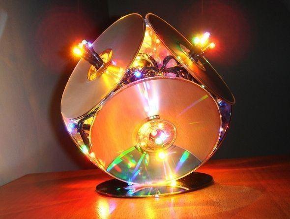Manualidades con CD reciclados paso a paso lámpara de noche